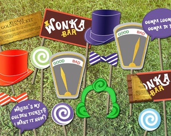 Willy Wonka Party Photo Booth Props - INSTANT DOWNLOAD