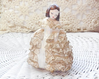 Lacey Lady Girl Figurine Made with plaster and lace, Lace Figurine, Vintage Girl Figurine, Vintage Home Decor,  :)S*