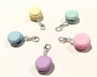Polymer clay macaron macaroons mini charms or stitch markers
