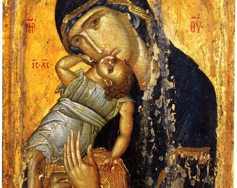 Fine Art Print of a Byzantine Icon. The Virgin Pelagonitissa,  c. 15th Century. Fine Art Print
