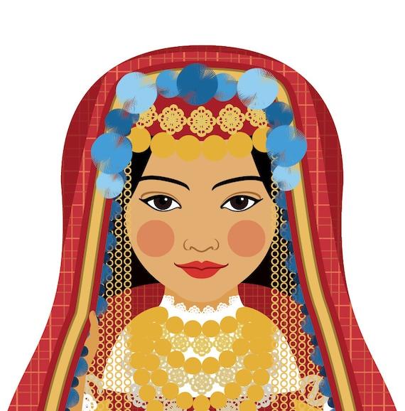 Tunisian Doll Art Print with traditional folk dress, matryoshka