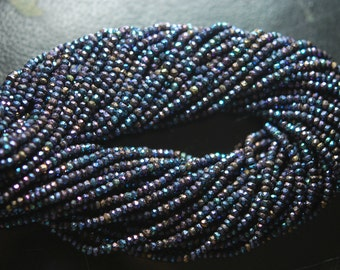 13.5 Inch Strands,Blue Mystic Rainbow Black Spinel Micro Faceted Rondelles,3.5-4mm