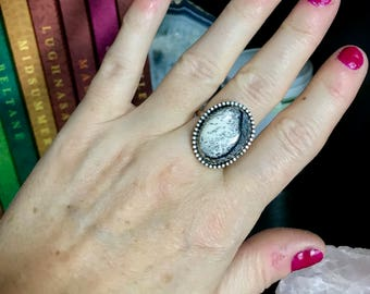 Dendritic Opal Sterling Silver Ring:  The Winter Wonderland Collection