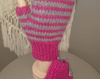 Pretty In Pink Winter Warm Boho Hand Knitted Boho Fingerless Mitts.