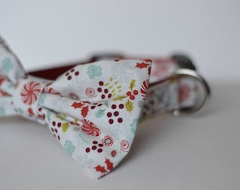Winter Holiday Dog Collar with Detachable Bowtie