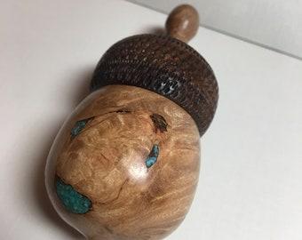 Crushed Turquoise and Bird's Eye Maple Wood Acorn Box