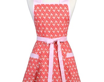 Womens Vintage Apron - Kewpie Pie Hearts of Love Apron - Cute Retro 50s Style Kitchen Apron with Pocket - Over the Head Apron