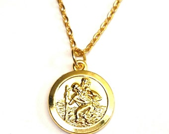 St christopher medal etsy st christopher necklace gold saint christopher necklace travel protection fearless protected aloadofball Gallery