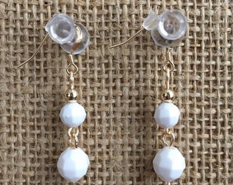 White earrings, white drop earrings, Faceted earrings