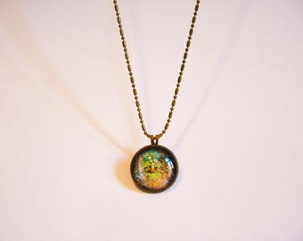 "Necklace - planet - cabochon - ""Antichthon #4"""