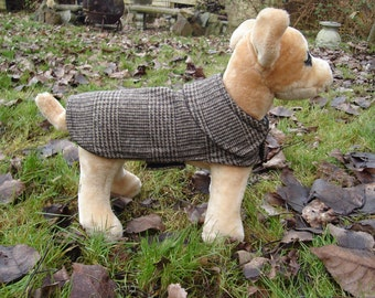 Dog Jacket -  Brown and Black Plaid Wool Coat- Size XX Small- 8 to 10 Inch Back Length