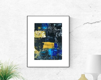 Abstract painting on Hahnemühlepaper, black, original painting, blue, Wall Art, yellow, abstract art