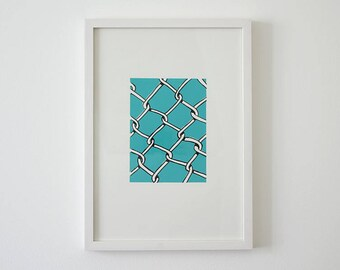 Original silkscreen poster Mesh wire Turquoise