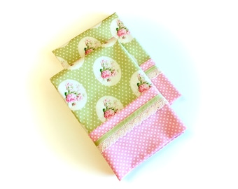 Pink And Green Pillowcases, Standard or Queen, Set of Two, Vintage Look, Shabby, Cottage Chic Decor, Mothers Day Gift by 8th Day Encore