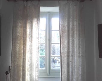 Pair Beautiful Antique French Drapes Unbleached Oatmeal Organic Hemp Linen Curtains