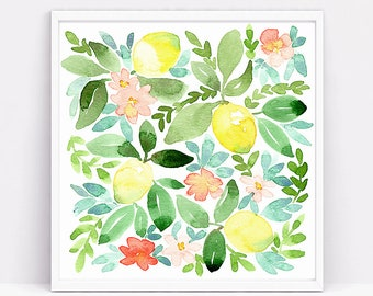 Watercolor Lemons Pattern, original watercolor painting, kitchen decor, home decor, fine art, lemon yellow, blossoms painting, fruit art