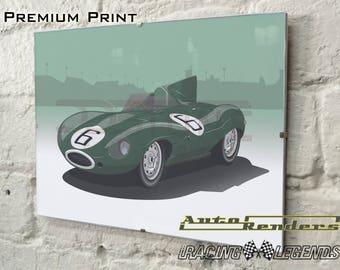 Jaguar D-type Long Nose LeMans Personalised Premium Signed Prints 12x8(A4) to 45x30(A0) Classic Cars Custom Illustration Winner 1955