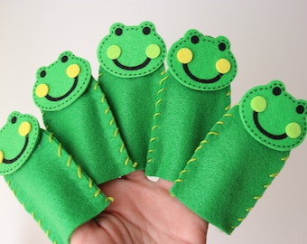 Five Green and Speckled Frogs Finger Puppets