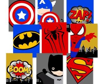 superhero wall prints, superhero wall art prints, PRINTED, bedroom or nursery wall prints, set of 9 high quality prints shipped to your door