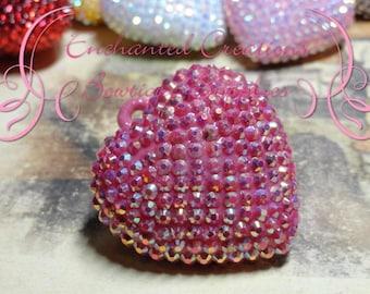 42mm Hot Pink AB Rhinestone Chunky Heart Pendant