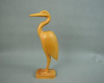 Wooden Crane heron bird sculptur, figurine, Mid Century Design, hand carved