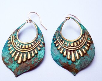 Verdigris Tribal Shield Earrings/ Blue-Green Patina Earrings/ Patina Jewelry/ Patina Earrings