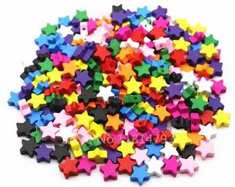 wood star beads 15 mm 20 beads