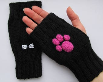 fingerless mittens, fingerless mittens cat, fingerless gloves, mittens cat's paw, black mittens, cat's paw mittens, black cat mittens, mitts