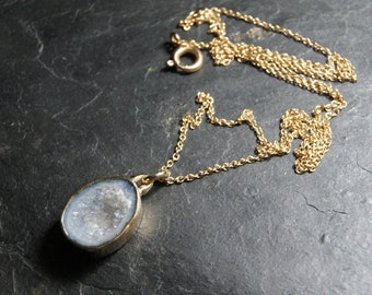 Light Blue Tabasco Geode Druzy Necklace in Recycled 14kt Yellow Gold and Sterling Silver...OOAK, mixed metals