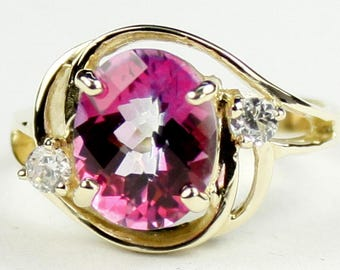 Pure Pink Topaz, 18KY Gold Ring, R021