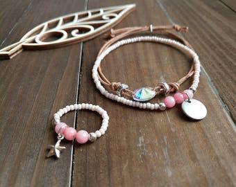 Jewelry set bracelet and ring Bracelet set Ring bracelet set Handmade ring Leather bracelet Swarovski crystal Boho bracelets Boho jewelry