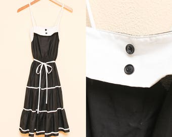 Black and White Dress // 1970s Tiered Tank Dress // 70s Prairie Revival Button Detail Gothic NWT Zayre Sleeveless Dress Size XS 0 2
