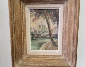 French original oil painting with original wood frame