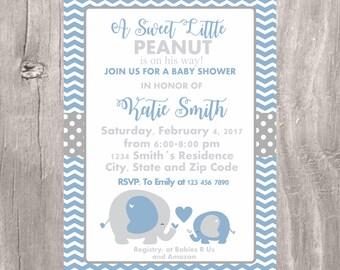 Blue Elephant Baby Shower Invitation Its a Boy