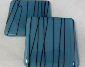 Fused Glass Coasters Cobalt Blue with Black Accents design  - set of two