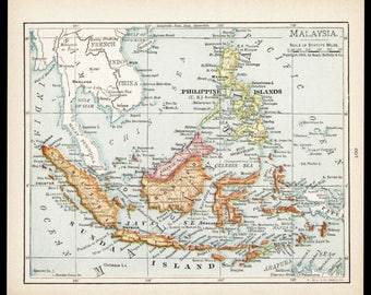 Small philippines map of philippines art antique wall decor small map of malaysia philippines map borneo map antique wall decor print old publicscrutiny Images