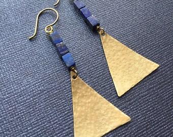 Lapis Lazuli Brass Triangle Earrings