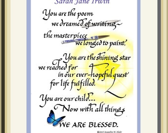 You are the Poem We Dreamed of Writing- personalized gift for a child, letting them know that they are the finest creation of their parents.
