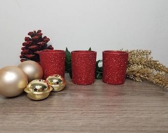 Red Glitter Candle, Red Glitter, Red Votive Candle, Red Votive Holder, Red Votive Candle Holder, Votive Candle Holder Bulk, Glitter Candles