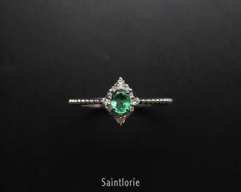 0.25 Carat Emerald Engagement Ring, White Gold