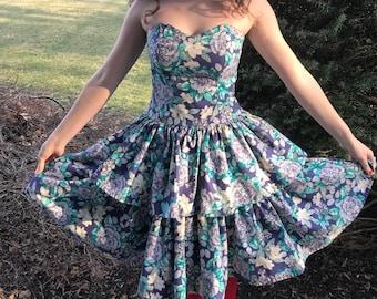 1980s Laura Ashely floral tier lolita kawaii prom dress