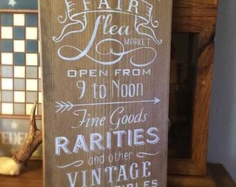 The Olde Antique Fair Flea Market, wood sign, word art