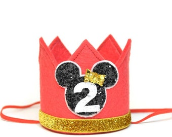 Minnie Mouse Crown Party Mickey Ears Felt Crown Headband Photo Prop Cake Smash