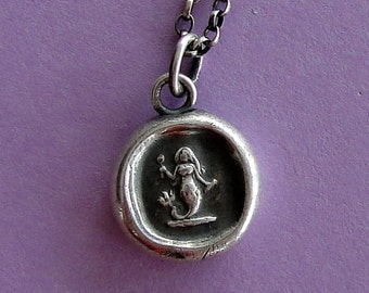 Eloquence, Antique Wax Seal impression, sterling silver, Mermaid, handmade amulet, meaningful gift, ocean, silver  mermaid necklace, sea.