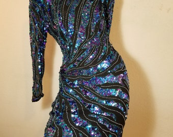 FREE  SHIPPING  1980 Iridescent Sequin Dress