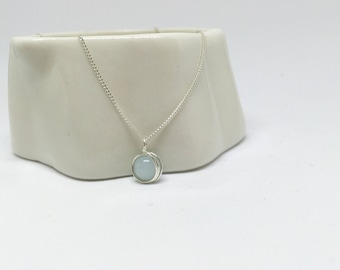 Aquamarine necklace, 925 sterling silver aquamarine necklace, natural aquamarine pendant, silver aquamarine necklace, aquamarine jewellery