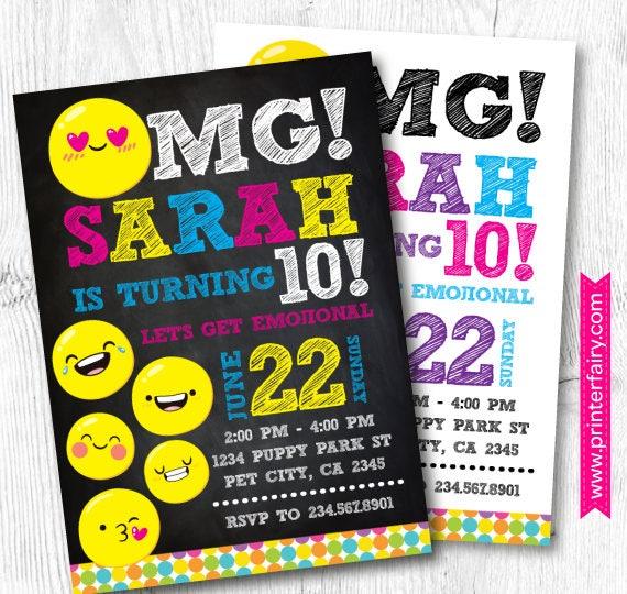 Emoji Invitations Emoji Birthday Invitation Emoji Birthday Party