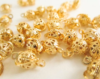 Gold Plated Brass Filigree Link, Round Filigree Connector, 6mm, Filigree Drop, Filigree Bead, Connector Bead, Jewelry Making, Gold Connector