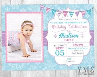 Winter Wonderland Birthday Invitation - Snowflake Birthday Invitation - Onederland Invite with Photo - Christmas Birthday Invitation
