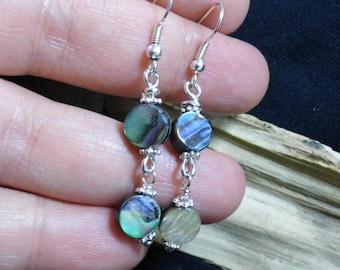 Abalone Silver Dangle Earrings